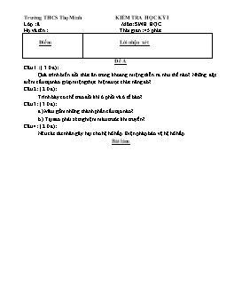 Đề kiểm tra học kì I môn Sinh học Lớp 8 - Trường THCS Thọ Minh