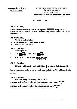 Đề thi học sinh giỏi cấp huyện môn Toán Lớp 6 - Năm học 2009-2010 - Huyện Quế Sơn