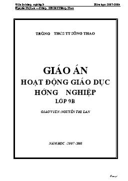 Giáo án Hoạt động giáo dục hướng nghiệp Lớp 9 - Nguyễn Thị Lan