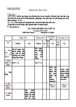 Giáo án môn Sinh học Lớp 8 - Tiết 19: Kiểm tra một tiết
