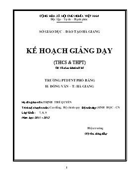 Kế hoạch giảng dạy môn Sinh học cấp THCS năm học 2011-2012 - Trịnh Thế Quyền
