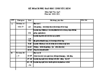 Kế hoạch phụ đạo học sinh yếu, kém - Môn Ngữ văn Lớp 9 - Năm học 2010-2011