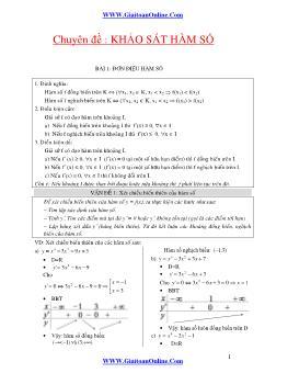 Luyện thi Đại học, Cao đẳng môn Toán - Chuyên đề: Khảo sát hàm số