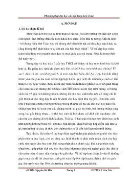 Phương pháp dạy học các nội dung môn Toán - Nguyễn Bá Hòa